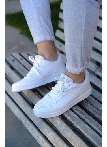 Oksit Creed Kalın Taban Erkek Sneaker Beyaz